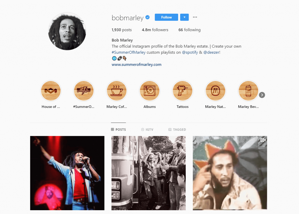 Bob Marley Instagram Followers
